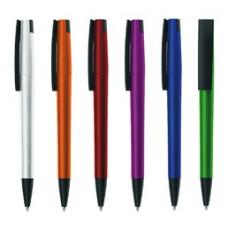 Στυλό πλαστικό μεταλλιζέ με φαρδύ καπάκι